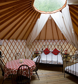 Camping and yurt holidays in Devon, Exeter, Plymouth, Torbay, Dartmoor | Tipi and Family Holidays | Contemporary Mongolian Style Yurts | Yurt Camp Devon